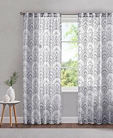 "Tabitha 50"" x 84"" Printed Burnout Sheer Curtain Panel"