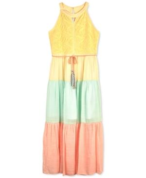 Bcx Big Girls Colorblocked Lace Maxi Dress
