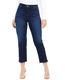 INC Curvy Straight-Leg Frayed-Hem Ankle Jeans, Created For Macy's