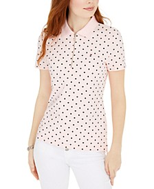 Dot-Print Zip Polo Top