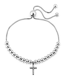 Brilliant Bubbles Diamond 1/10 ct. t.w. Cross Charm Bolo Bracelet Designed in Sterling Silver