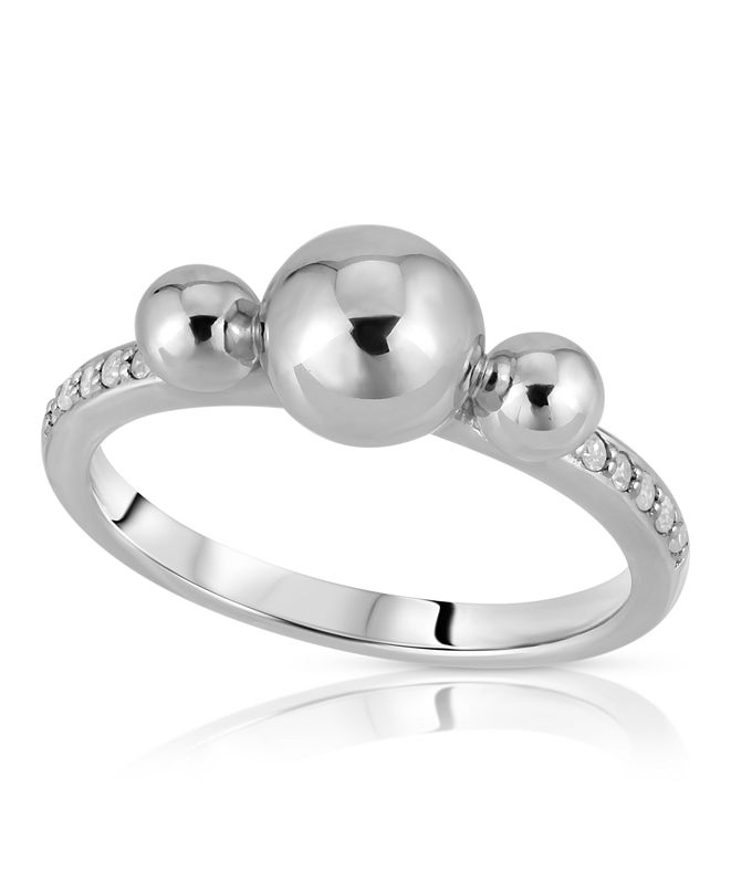Macy's Brilliant Bubbles Diamond 1/10cttw 3 Bubble Ring Designed in 14k Rose Gold over Sterling Silver