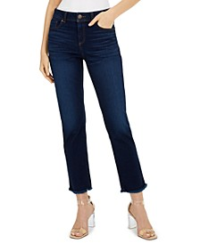 INC Straight-Leg Frayed-Hem Ankle Jeans, Created for Macy's
