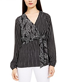 Mixed-Print Wrap-Bust Top, Created For Macy's