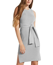 Rib-Knit Tie-Front Bodycon Dress