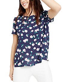 Floral-Print Button-Back Woven Top, Created for Macy's