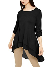 Chiffon-Trim High-Low Top, Created For Macy's