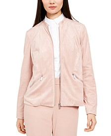 Petite Faux-Suede Zip-Pocket Jacket, Created For Macy's