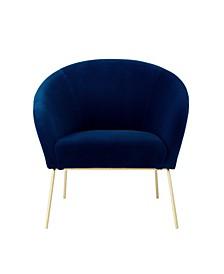 Catriona Velvet Barrel Accent Chair with Metal Legs