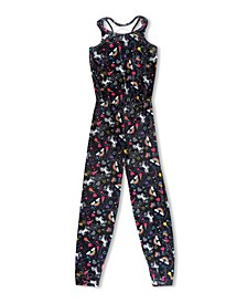 Little Girls Luxe Velvet Unicorn Jumpsuit