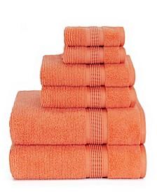 Sapphire Resort Gifford Textured Zero Twist Ribbed Border 6 Piece Bath Towel Set