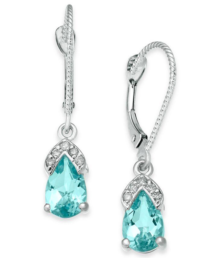 Macy's - Aquamarine (1-3/4 ct. t.w.) & Diamond Accent Drop Earrings in 14k White Gold