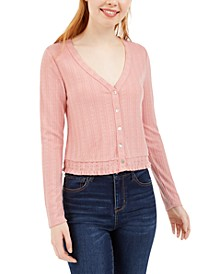 Juniors' V-Neck Pointelle Top