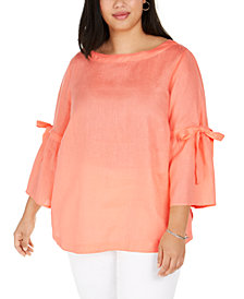 Charter Club Plus Size Linen Bell-Sleeve Top, Created for Macy's