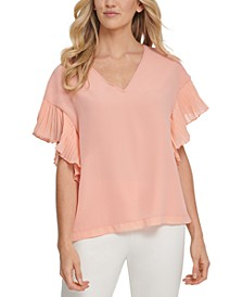 Pleated-Sleeve V-Neck Top