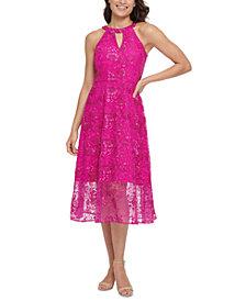 kensie Embroidered Mesh Dress