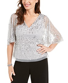 Sequined Capelet Top