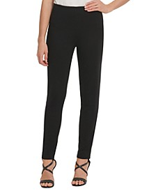 Slim Leg Cotton Pant with Side Zip