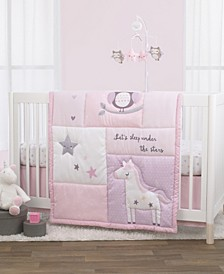 NoJo Unicorn, Owl and Stars 3-Piece Crib Bedding Set