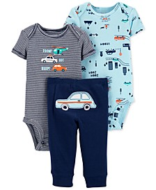 Baby Boys 3-Pc. Cotton Cars Bodysuits & Pants Set