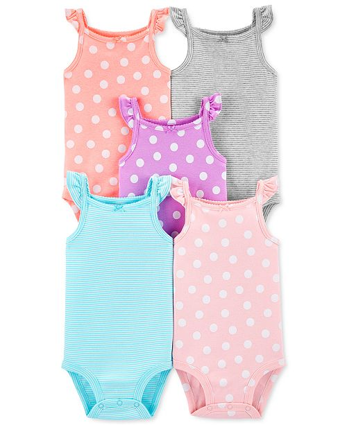 Carter's Baby Girls 5-Pk. Printed Flutter Tank Bodysuits