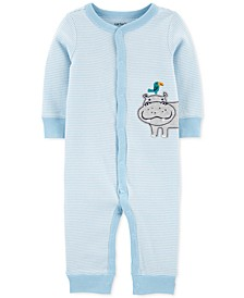 Baby Boys Striped Hippo Cotton Coverall