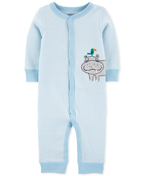 Carter's Baby Boys Striped Hippo Cotton Coverall