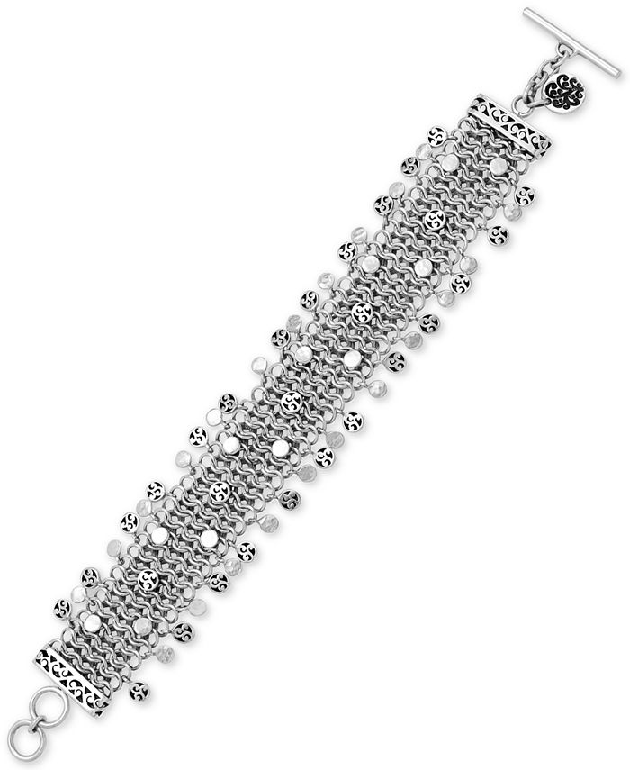 Lois Hill - Multi-Disc Wide Chain Toggle Bracelet in Sterling Silver