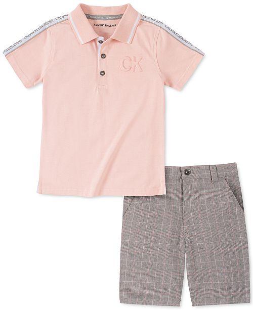 Calvin Klein Little Boys 2-Pc. Logo Tape Polo Shirt & Yarn-Dyed Glen Plaid Shorts Set