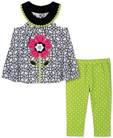 Toddler Girls 2-Pc. Flower Tunic & Printed Leggings Set