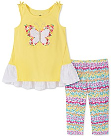 Little Girls 2-Pc. Butterfly Top & Leggings Set