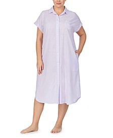Plus Size Striped Ballet Sleep Shirt Nightgown