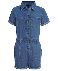 Big Girls Cotton Denim Romper