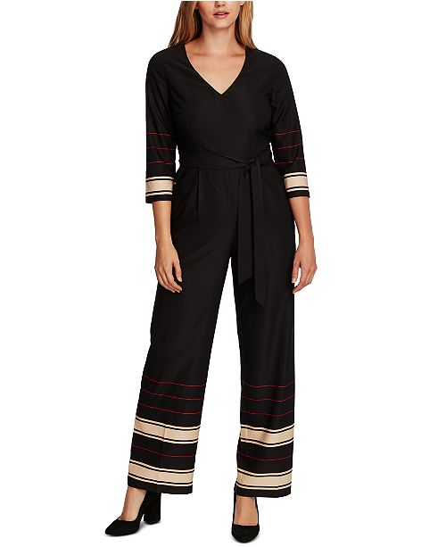 Vince Camuto Striped Belted Jumpsuit