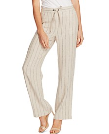 Striped Wide-Leg Drawstring Pants