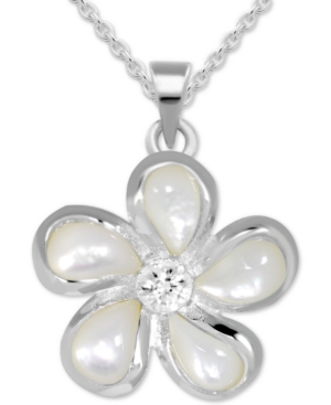 Crystal Accent & Enamel Flower Pendant Necklace in Fine Silver-Plate