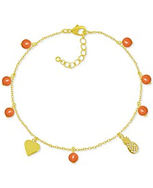 Pineapple & Bead Ankle Bracelet in Gold-Plate