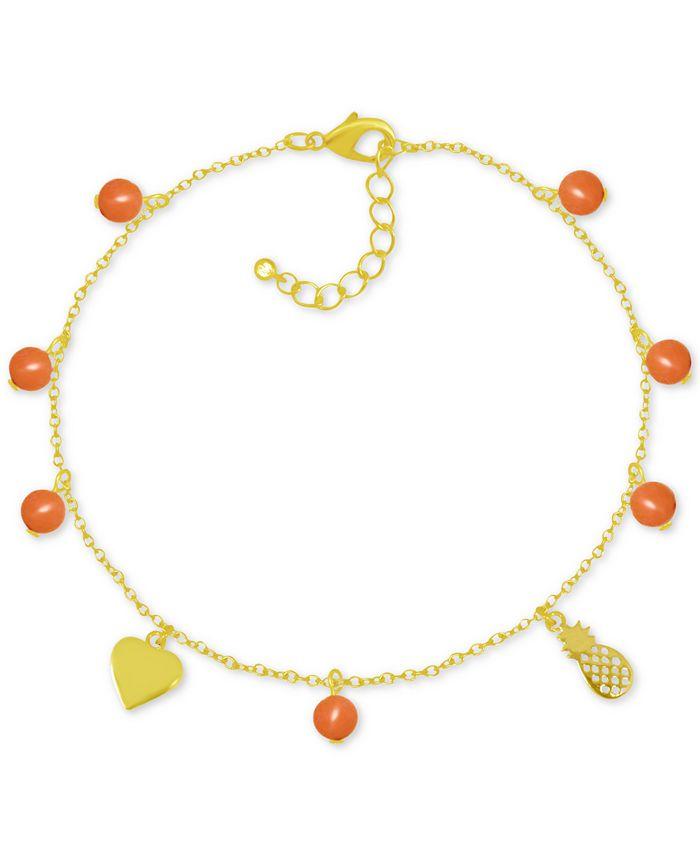 Kona Bay - Pineapple & Bead Ankle Bracelet in Gold-Plate