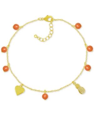 Pineapple & Bead Ankle Bracelet in Gold-Plate