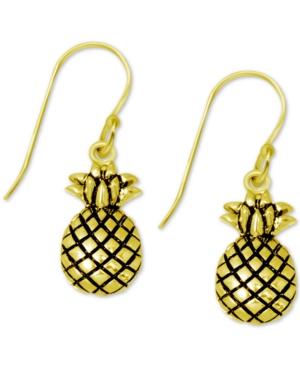 Pineapple Drop Earrings in Gold-Plate
