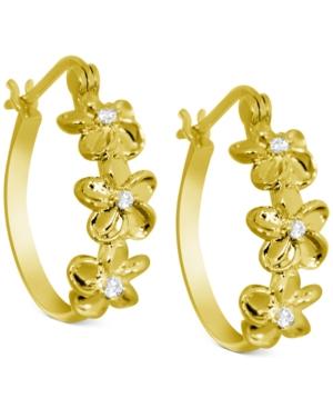 Crystal Flower Hoop Earrings in Gold-Plate