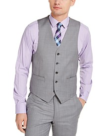Men's Classic-Fit Airsoft Stretch Gray Sharkskin Suit Vest