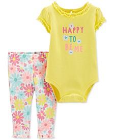 Baby Girls 2-Pc. Cotton Floral Bodysuit & Leggings Set