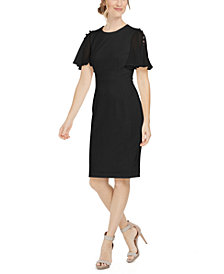 Calvin Klein Chiffon-Sleeve Sheath Dress