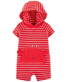 Baby Boys Hooded Striped Crab-Pocket Cotton Romper