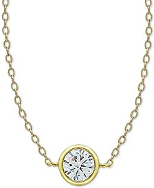 """Cubic Zirconia Bezel Pendant Necklace in 18k Gold-Plated Sterling Silver. 16"""" + 2"""" extender"""