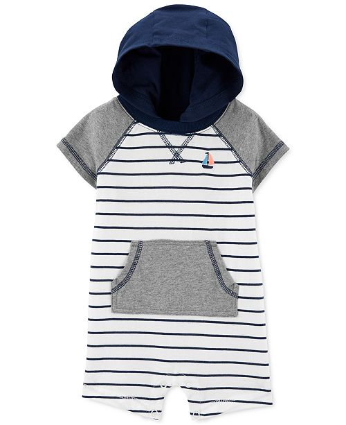 Carter's Baby Boys Hooded Striped Cotton Romper