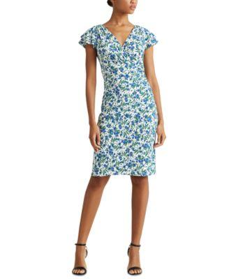 Jersey Flutter-Sleeve Dress