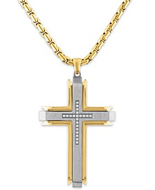 """Men's 1/10 Carat Diamond Cross Pendant 22"""" Chain in Stainless Steel and Gold Tone Ion Plating"""