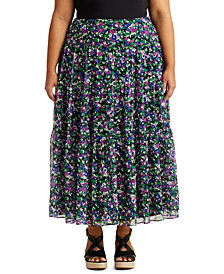 Lauren Ralph Lauren Plus-Size Floral Tiered Georgette Skirt